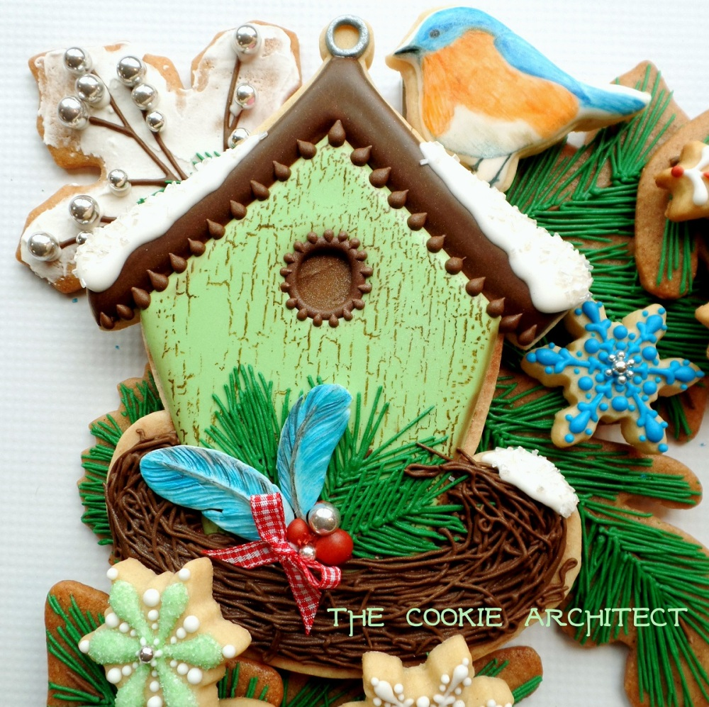 Green Birdhouse Detail | The Cookie Architect