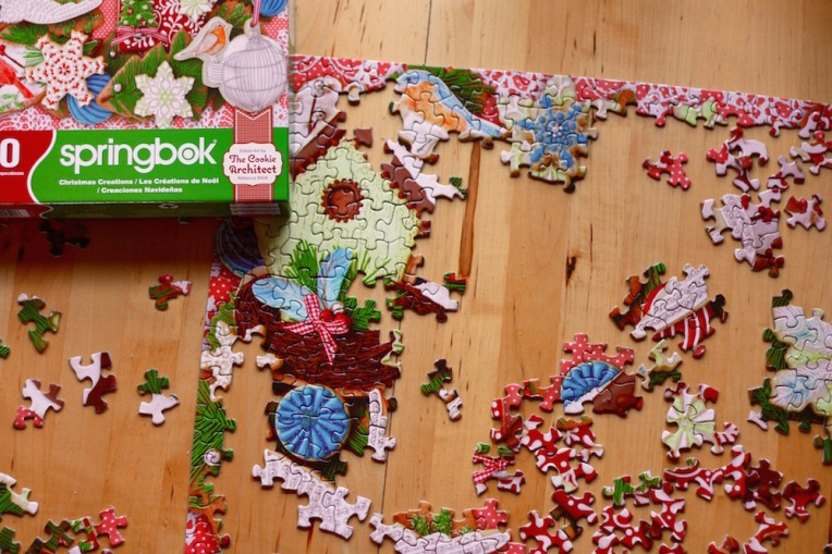 Puzzle in progress.  Photo from my favorite blogger Catherine Newman.